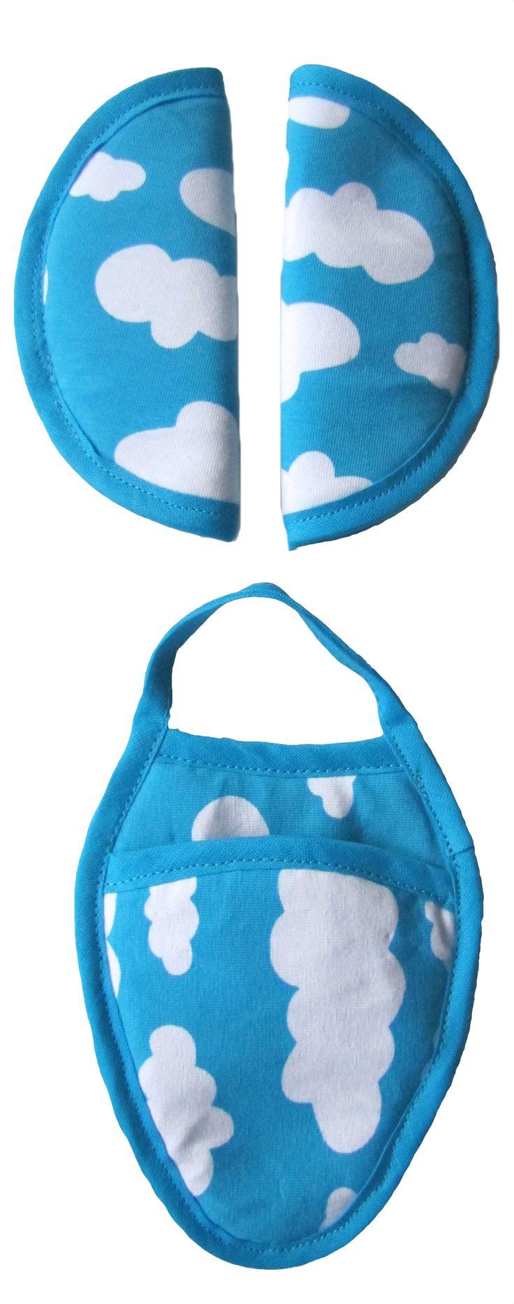 Gordelbeschermers Wolk Aqua strap cover gurtpolster car seat maxi cosi