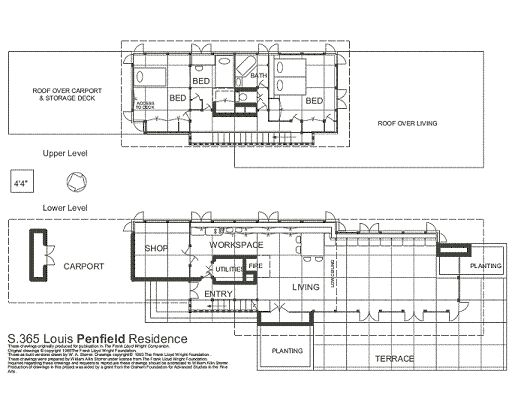 Floor plan the louis penfield house willoughby hills for Frank lloyd wright floor plans