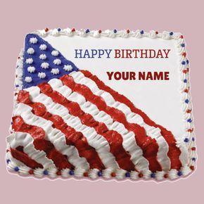 Write Name on Happy Birthday USA Flag Cake Namepix