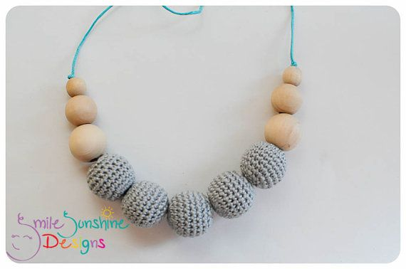 Crochet Bead and Wood Teething Necklace or Nursing Necklace - Soft, Snuggly and Chewable - Neutral Grey
