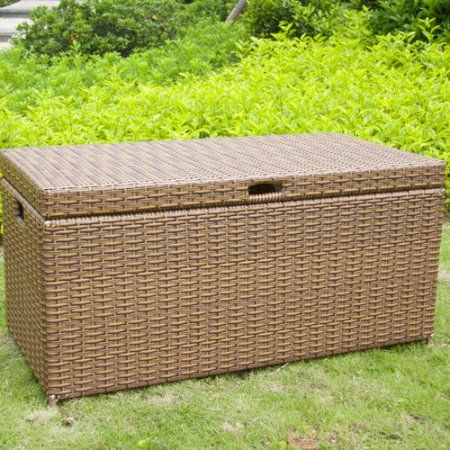 jeco inc outdoor 70 gallon wicker deck storage box