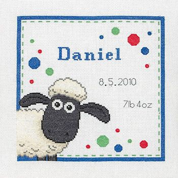 Shaun the Sheep Birth Sampler - Cross Stitch Kit