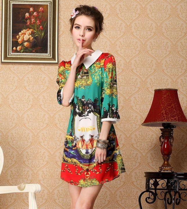 Printed Green Chiffon Dress