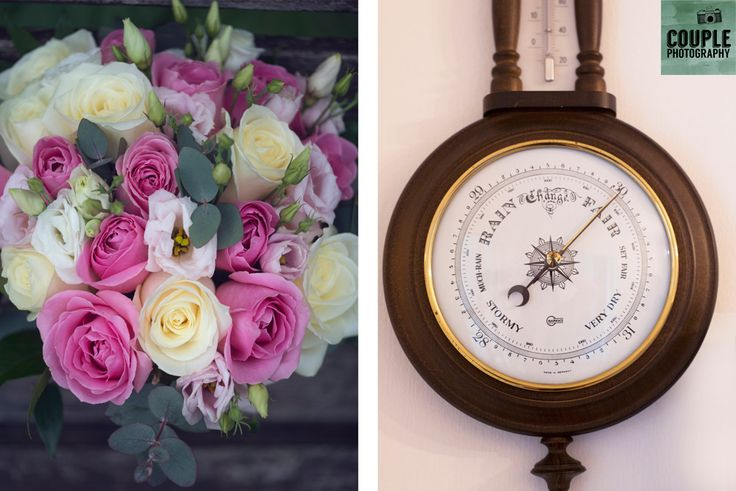 The wedding bouquet and the barometer pointing towards a nice day! Weddings at Clontarf Castle Hotel by Couple Photography.