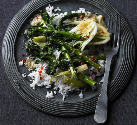 Serve long-stemmed broccoli and Asian pak choi with sesame sushi rice and a miso ginger dressing.