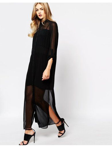 River Island Longsleeve Maxi Shirt Dress - Black http://sellektor.com/all?q=river+island