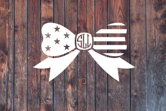 American Flag Monogram decal Monogram sticker greek by SLrustic