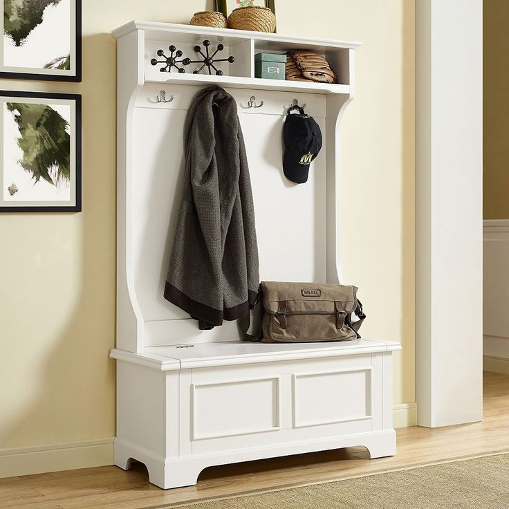 Crosley Furniture Campbell Hall Tree Storage Bench, White