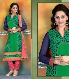 Buy Parrot green - Blue embroidered georgette semi-stitched salwar with dupatta collar-neck-design online