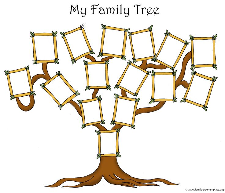 Original free family tree template with picure frames for family members.