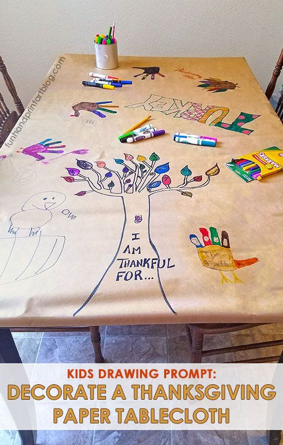 Keep kids from being bored by having them create a Thanksgiving Tablecloth. Provide them with some of the suggested Thanksgiving writing and drawing prompts