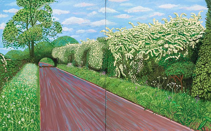 Hawthorne Blossom Near Rudston, Davidy Hockney, oil on canvas