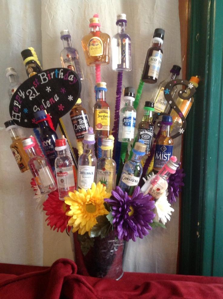 Selena 39 s 21st birthday bouquet 21 small liquor bottles for Things to make out of liquor bottles