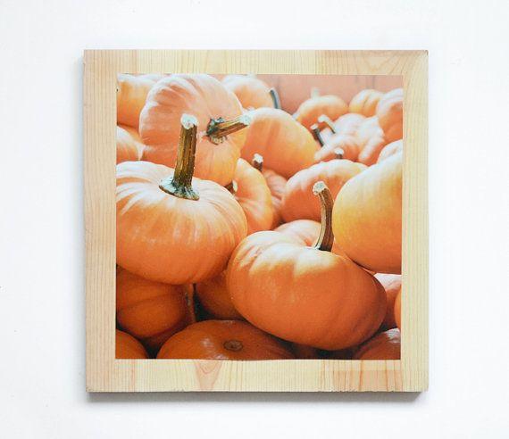 Wood Mounted Fall Farm Photography Orange Mini by DesignByJV
