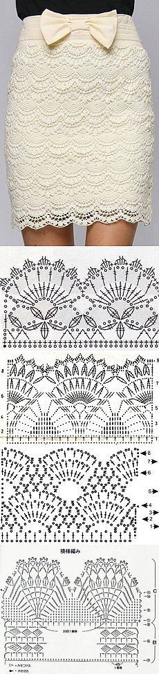 "Uma seleção de padrões para crochê, saias esquema de tricô | domiciliar Laboratório [   ""Lace fans & pineapple stitches - minus the ugly bow"",   ""This pattern would make a stunning eyelash lace dress"",   ""A selection of patterns for crochet, knitting scheme skirts"",   ""Variations of scallops"",   ""connection to lots of other stuff"",   ""and I laughed and I laughed"",   ""White dress with a rose on his belt."" ] #<br/> # #Crochet #Skirts,<br/> # #Crochet #Clothes,<br/> # #Lace #Skirt,<br/> # #Lace…"