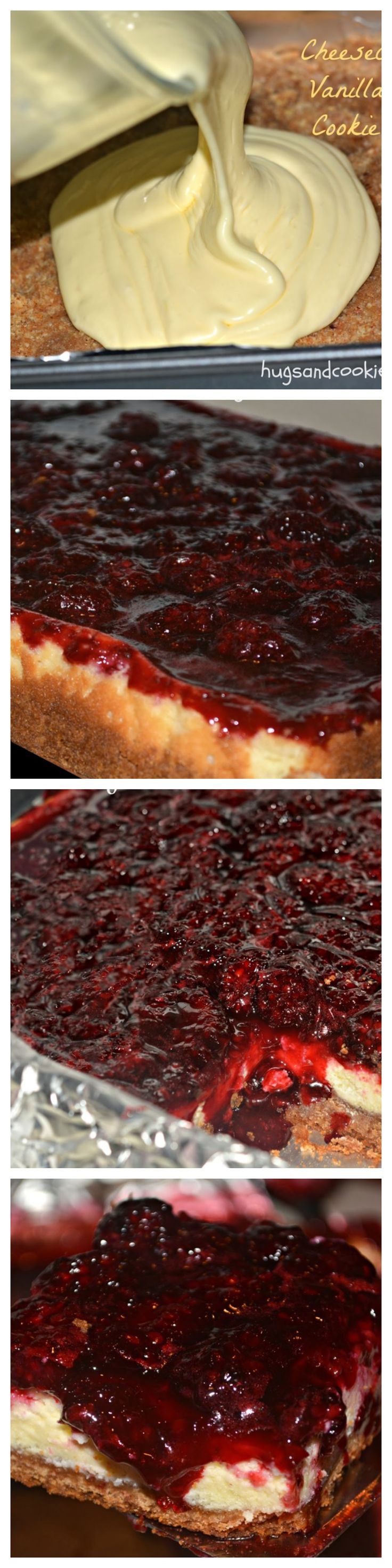 Blackberry Cheesecake Bars ~ Blackberries (any berry would be great) over a fabulous cheesecake that covers a vanilla pecan cookie crust... The ultimate dessert.