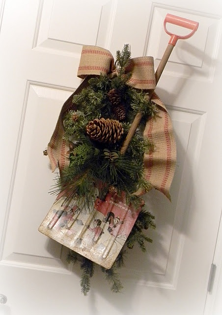 Wall Colour Inspiration: Love This Old Child's Shovel Turned Door Decor!!