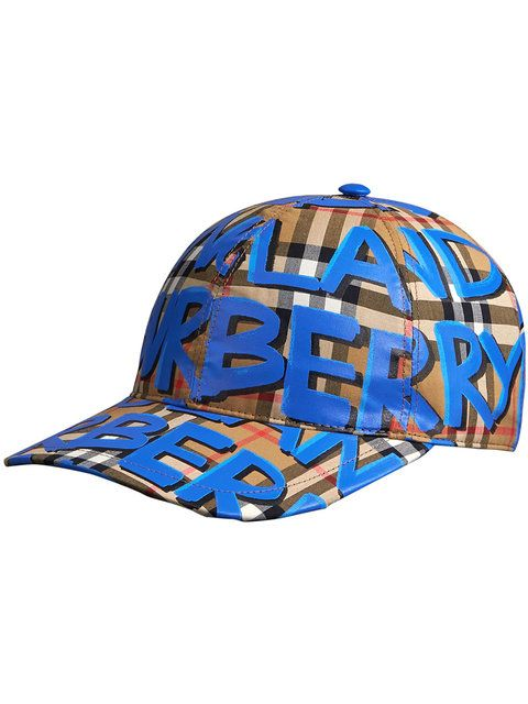 40d1c1d7361 Shop Burberry Graffiti Print Vintage Check Baseball Cap