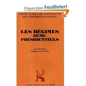 This 1986 edited volume on the concept and practice of semi-presidentialism was one of Maurice Duverger's last contributions