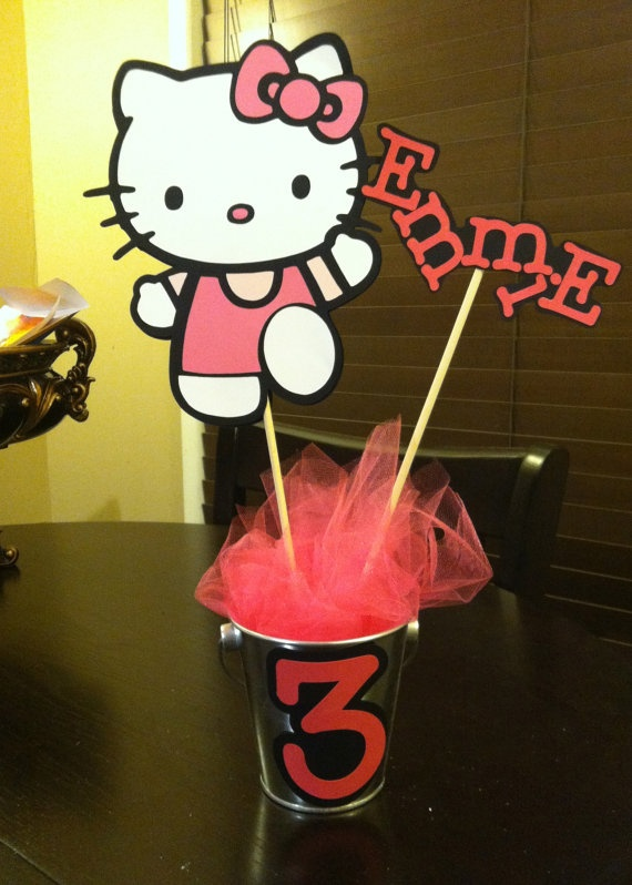 Hello Kitty Centerpiece in Pail by fabpapercreations on Etsy, $13.00