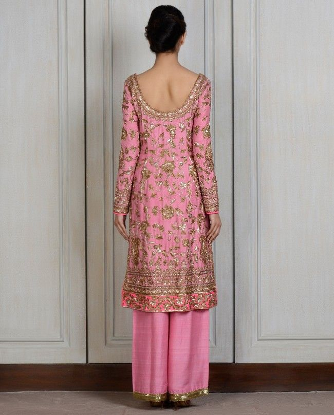 Salmon Pink Embroidered Straight Kalidar