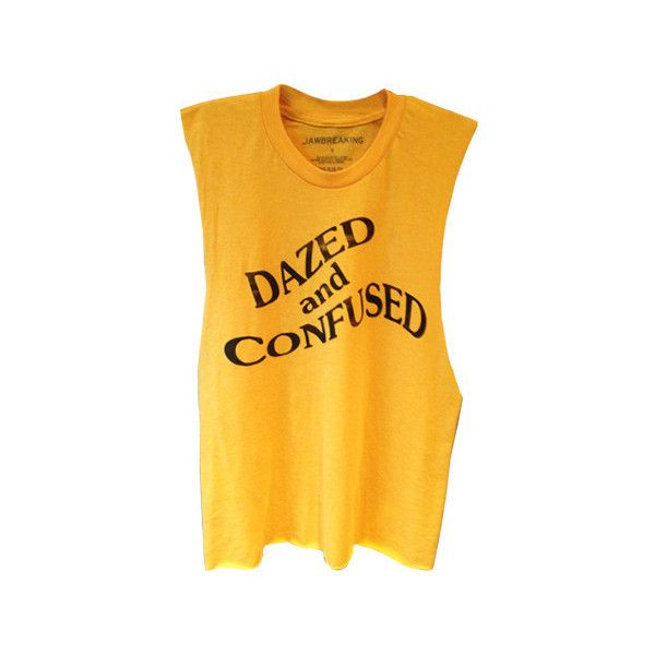Dazed and Confused Tank ❤ liked on Polyvore featuring tops, t-shirts, tank tops, yellow top, yellow tank top and yellow tank