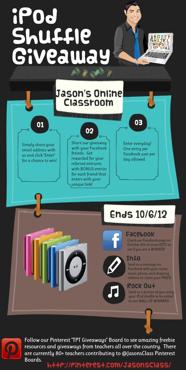LIKE my Facebook Page and enter to win an Ipod Shuffle!      http://woobox.com/rkf63cTeachers Pay, Pay Teachers, Ipods Shuffle