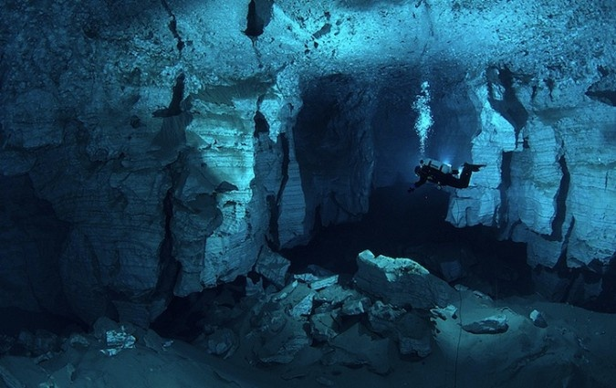 Ordinskaya Cave is the largest underwater cave in Russia, and one of the biggest caves in the world.  Although cave diving can be dangerous, it is also thrilling and underwater photographer Vitya Lyagushkin and diving journalist Bogdana Vashchenko thoroughly enjoy these types of expeditions.