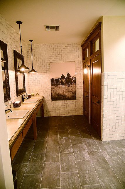 Finished bathroom from the Pioneer Woman...love the subway tile patterned up!