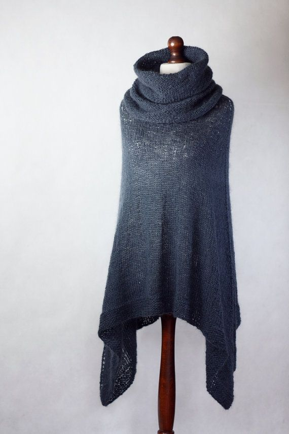 Hand knit poncho knit women women poncho blue by KnitwearFactory, $125.00