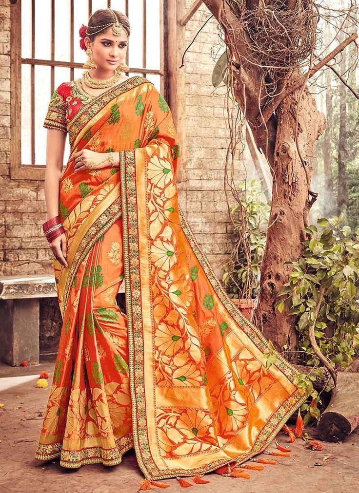 Orange Banarasi Silk Wedding Sarees With Embroidered, Print, Lace Works. Order #WeddingSareesOnline