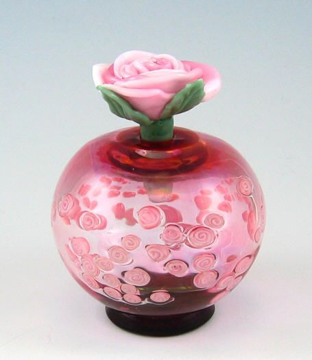 Artist: Alexandra & Chris Pantos - Roses Topper, Pink Blown Glass Bottle