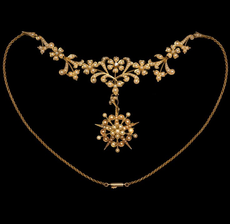 Antique Jewellery » Boxed Victorian 15ct Gold Seed Pearl and DIamond Necklace