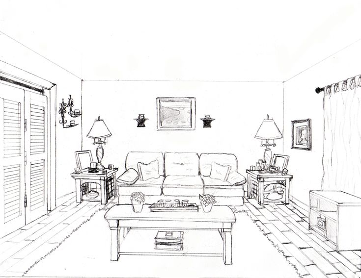 How to draw a 1 point perspective bedroom image gallery for Simple drawing room interior design