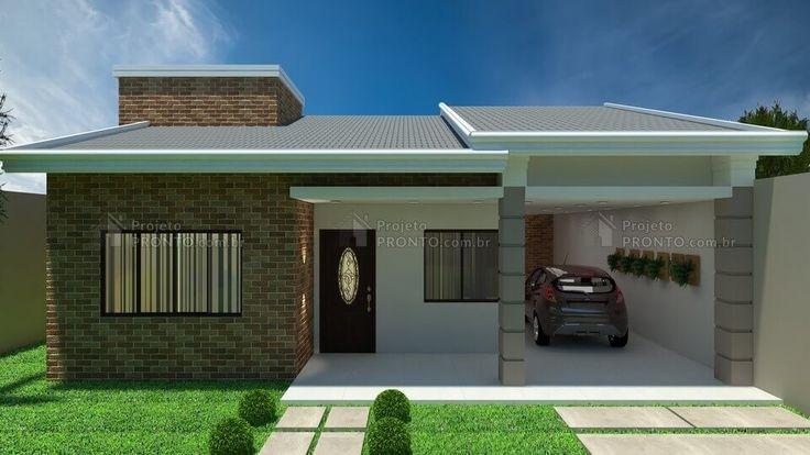 Casa C016: Projeto de casa com 2 quartos, sendo 1 suíte, 2 banheiros e 1 garagem. Com elementos bem combinados, é uma opção charmosa para construir.