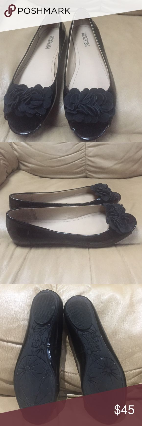 Kenneth Cole Reaction black open toe flats. Kenneth Cole Reaction open toe flats. Size 7 patent leather with velvet look  at like roses . Like new, worn only once. Kenneth Cole Shoes Flats & Loafers