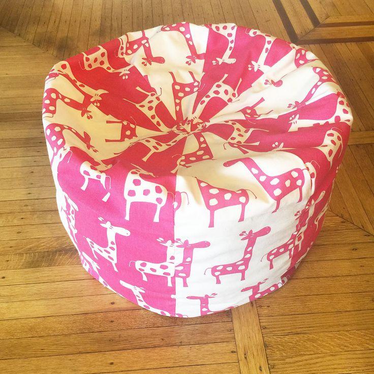 Kids Bean Bag Chair, Giraffe Print Pouf , Chair, Kids Room Decor, Nursery Decor, Kids Pink Decor, Home Decor, Reading Room, by WINGBACK on Etsy
