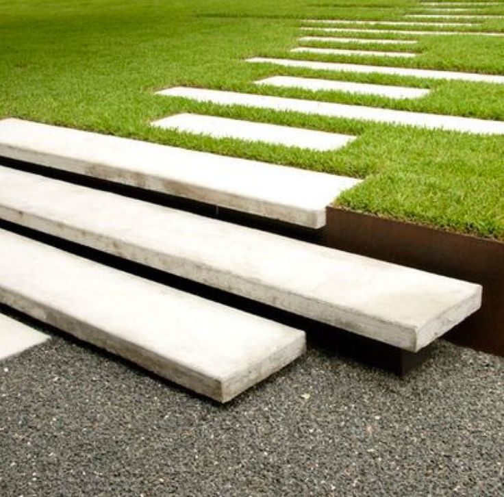 Modern Landscape/Yard with Pathway, exterior tile floors, St. Augustine 3 in. Grass Plugs (2 - 18-Pack Trays), Raised beds