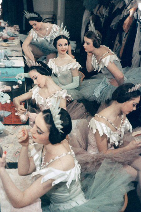 ballerinas……….PRIMPING FOR THEIR ENTRANCE…..O.K. LADIES -- TAKE YOUR PLACE…………ccp