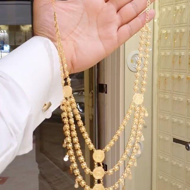 كرسي فاخر وجميل ذهب عيار ٢١ السعر ٨٦٠٠ ريال سوق الذهب الماس ذهب لايك Chain Necklace Necklace Pearl Necklace