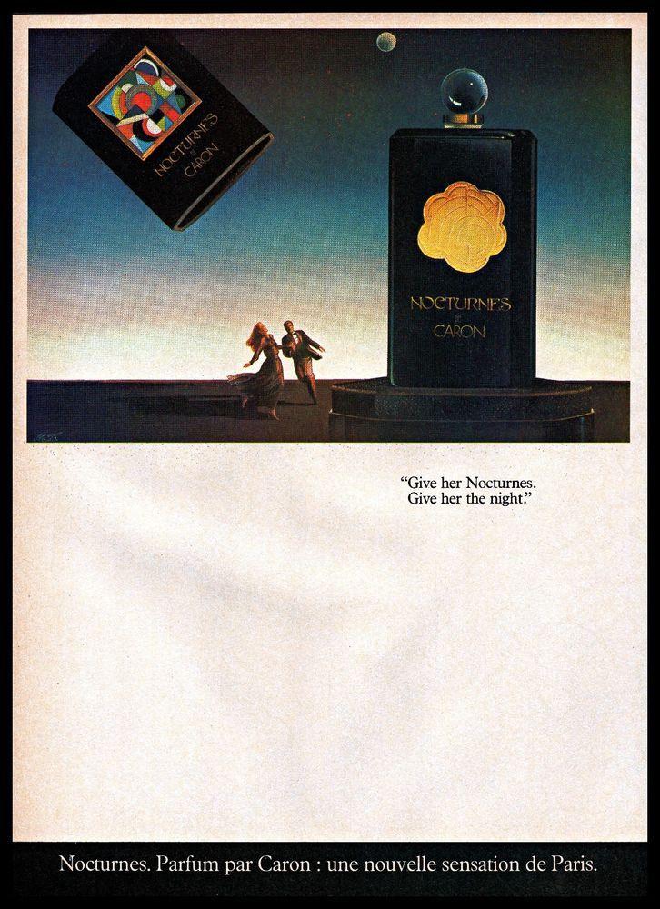 #1980s Nocturnes De Caron #Perfume Scifi #Drawing Man Woman #Vintage Photo Print #Ad #NocturnesDeCaron
