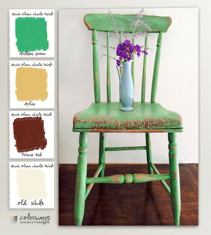 COLORWAYS  with Leslie Stocker » Very Vintage  Sturdy old pine chair painted with Annie Sloan Chalk Paint®. Antibes Green, Arles, Primer Red, OldWhite