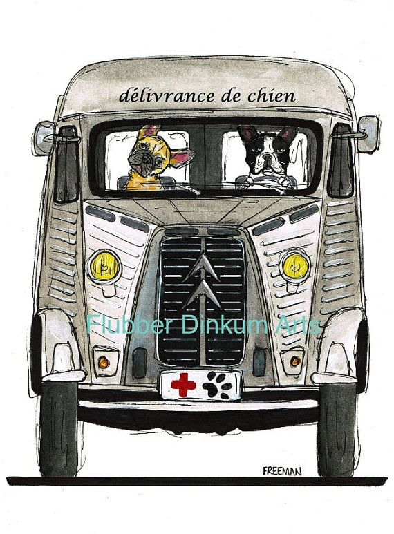 Dog Rescue.  Citroen H with French Bulldogs.    Greetings card