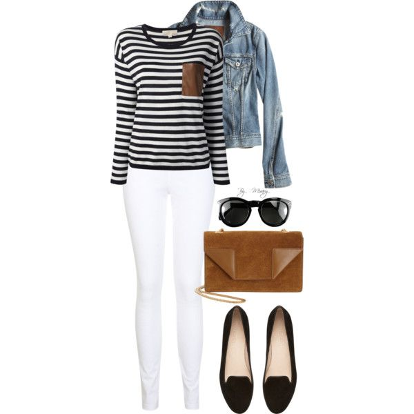 White jeans, striped top, jean jacket, great casual weekender