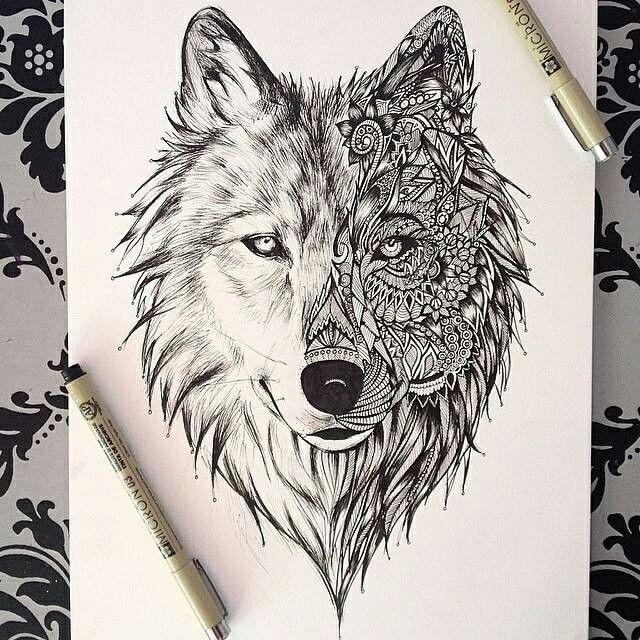 Wolf tat..Half realism & art