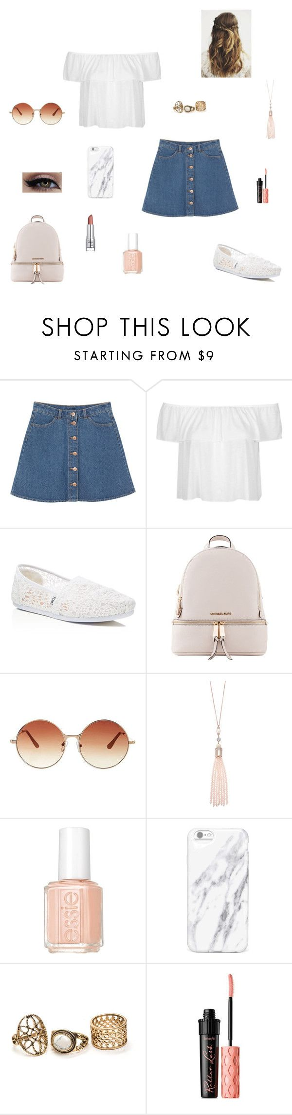 """hide away"" by synclairel ❤ liked on Polyvore featuring Monki, Topshop, TOMS, Michael Kors, Oasis, Essie and Benefit"