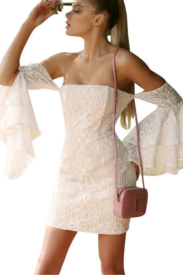 037951b5081e Beige Lace Flare Sleeve Off Shoulder Sexy Bodycon Dress in 2019 ...