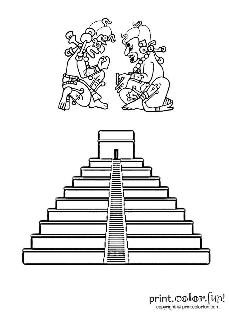 Mayan pyramid Print Color Fun Free printables