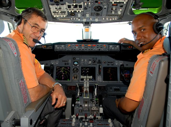 Mango Airlines pilots in the cockpit