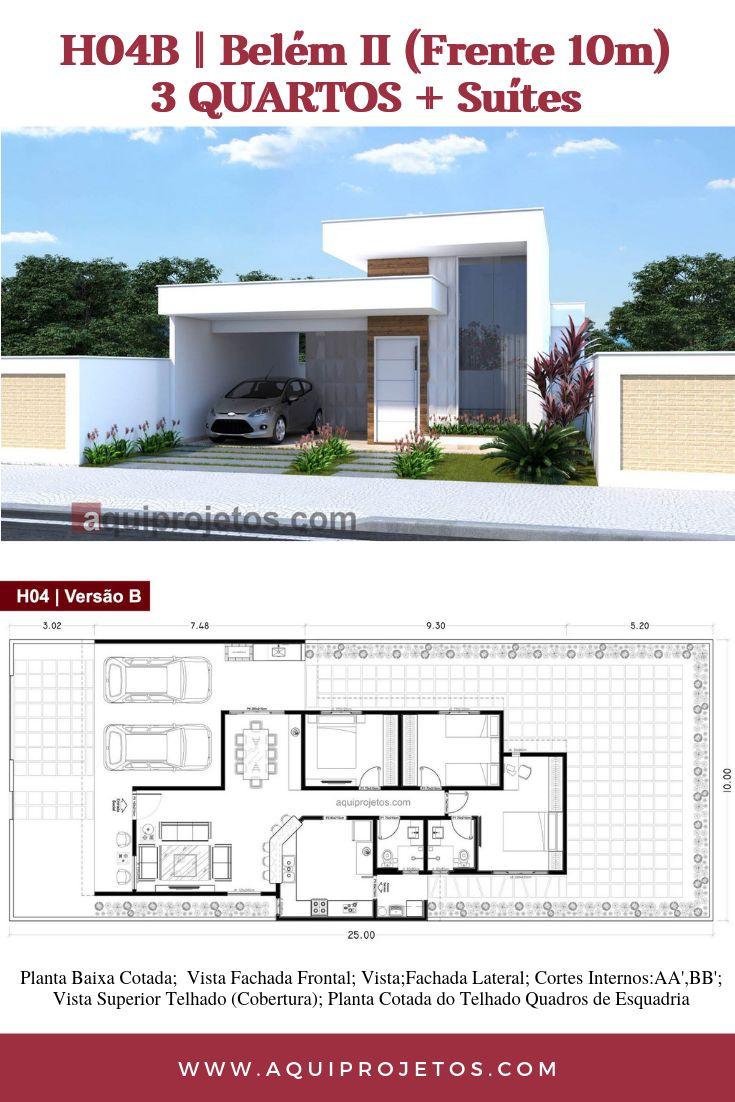 Planta de casa moderna com 3 quartos, o projeto de Belém possui espaços …   – House
